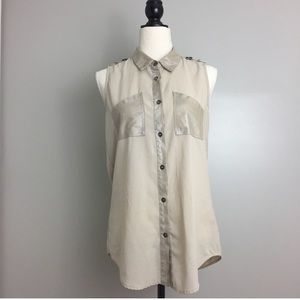 Double Zero Tan Sleeveless Sheer Button Down Shirt